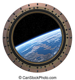 Space Station Porthole. 3D Model On a White Background.