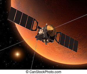 "Spacecraft ""Mars Express"" Orbiting Mars. 3D Scene."