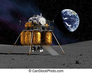 Lunar Lander On The Moon. 3D Scene.
