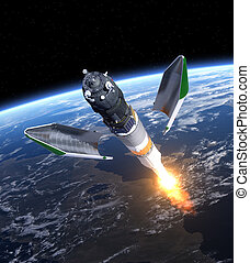 "Launch Of Cargo Spacecraft ""Progress"". 3D Scene."