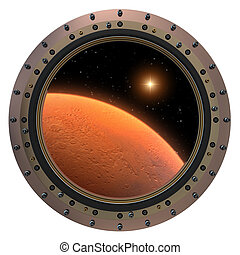 Mars Spacecraft Porthole. 3D Model On A White Background