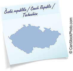 Map of Czech Republic as sticky note in blue