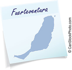 Map of fuerteventura as sticky note in blue
