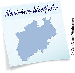 Map of North Rhine-Westphalia as sticky note in blue