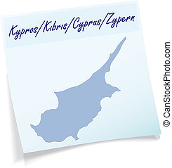 Map of Cyprus as sticky note in blue