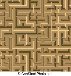 seamless abstract complex maze, labyrinth background brown