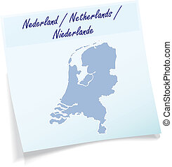 Map of Netherlands as sticky note in blue