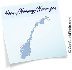 Map of Norway as sticky note in blue