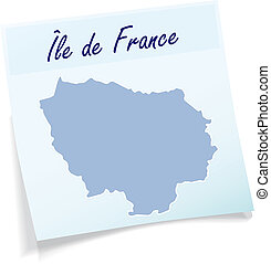 Map of Ile-de-France as sticky note in blue