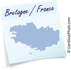 Map of Brittany as sticky note in blue
