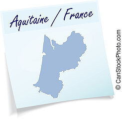 Map of aquitaine as sticky note in blue