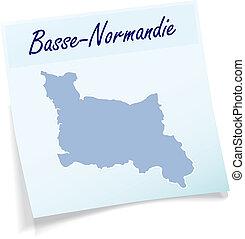 mapa, niższy, Normandy, lepki, nuta