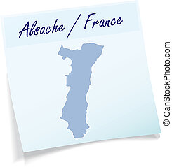 Map of Alsace as sticky note in blue