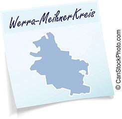 Map of Werra-Meissner-Kreis as sticky note in blue