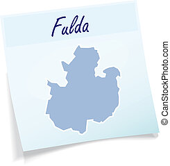 Map of fulda as sticky note in blue