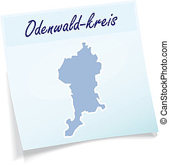 Map of Odenwaldkreis as sticky note in blue