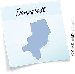 Map of darmstadt as sticky note in blue