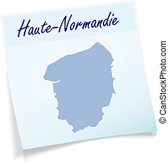 Map of Upper Normandy as sticky note in blue