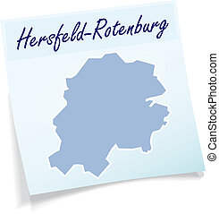Map of Hersfeld-Rotenburg as sticky note in blue