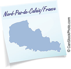 Map of North-pas-de-calais as sticky note in blue