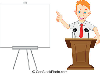 cute businessman and blank sign illustration