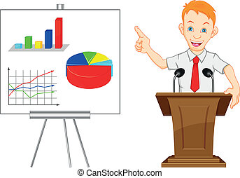 cute businessman and presentation - illustration of cute...