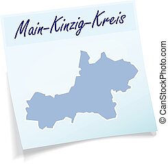 Map of Main-Kinzig-Kreis as sticky note in blue
