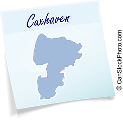 Map of Cuxhaven as sticky note in blue