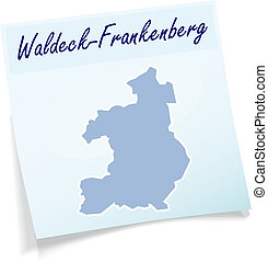 Map of Waldeck-Frankenberg as sticky note in blue