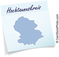 Map of Hochtaunuskreis as sticky note in blue