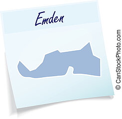 Map of Emden as sticky note in blue