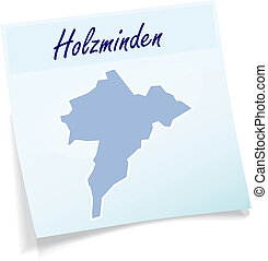 Map of Holzminden as sticky note in blue