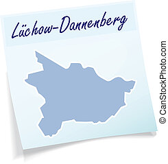 Map of Luechow-Dannenberg as sticky note in blue