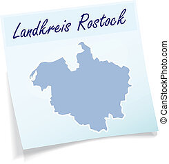 Map of Rostock as sticky note in blue