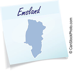 Map of Emsland as sticky note in blue