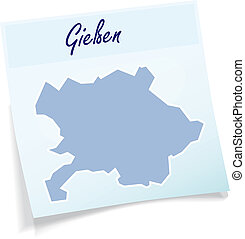 Map of giessen as sticky note in blue
