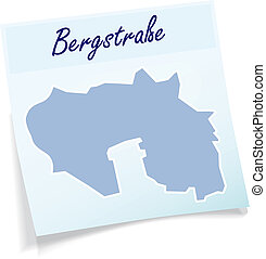 Map of Bergstrasse as sticky note in blue