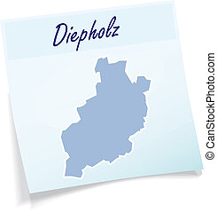 Map of Diepholz as sticky note in blue