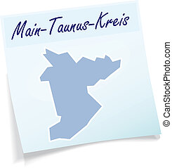 Map of Main-Taunus-Kreis as sticky note in blue