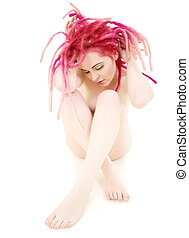 pink hair girl - picture of sad pink hair girl over white