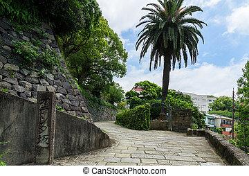 Dutch Slope (Oranda-zaka) in Nagasaki, Japan. It's the steep...