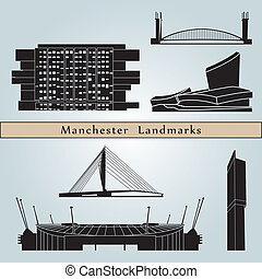 Manchester landmarks and monuments isolated on blue...