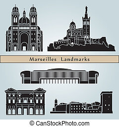 Marseilles landmarks and monuments isolated on blue...
