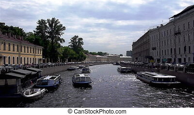 View at Moyka river with excursion ships - SAINT PETERSBURG,...
