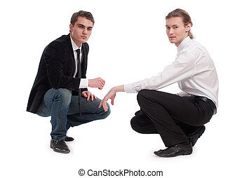 two men on an isolated background - two men on an isolated...