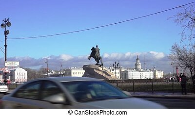 Monument to Peter the Great and Neva river quay at the...