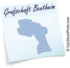 Map of Grafschaft-Bentheim as sticky note in blue