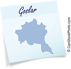 Map of Goslar as sticky note in blue