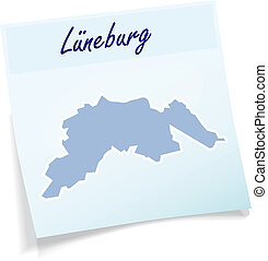 Map of Lueneburg as sticky note in blue