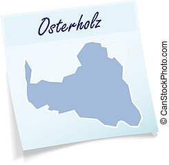 Map of Osterholz as sticky note in blue